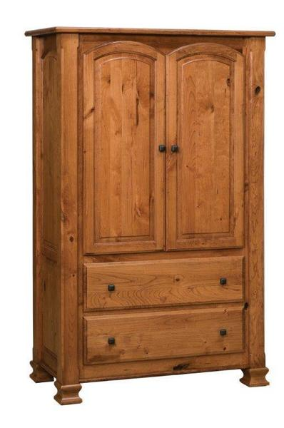 Amish Charleston One Piece Armoire with Two Drawers and Two Doors