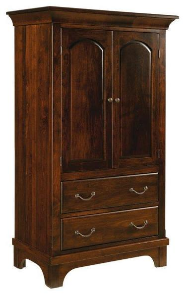 Amish Hamilton Court Armoire with Two Drawers and Two Doors