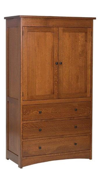 Amish Laramie Armoire with Three Drawers and Two Doors