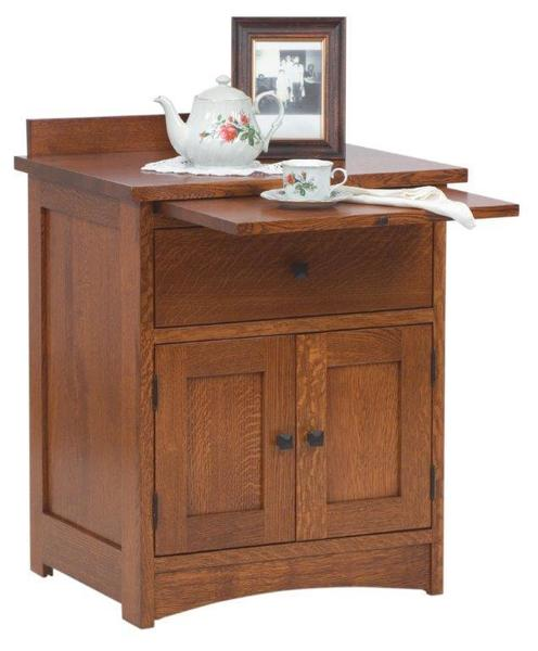 Amish Laramie Nightstand with Two Doors and Pull Out Tray