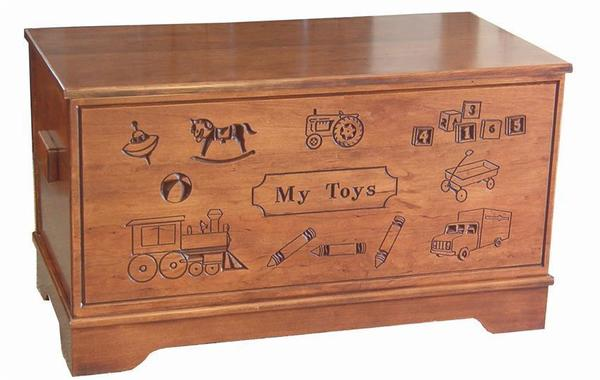 Amish Hardwood Large Carved Toy Chest