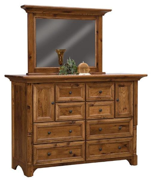 Amish Palisade Dresser with Eight Drawers and Two Doors
