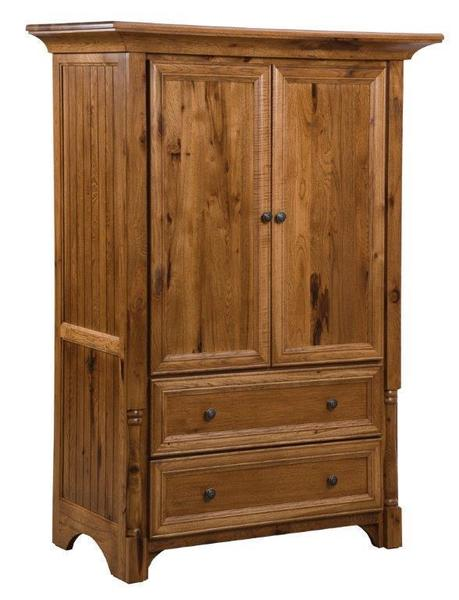 Amish Chelsea Armoire with Two Drawers and Two Doors