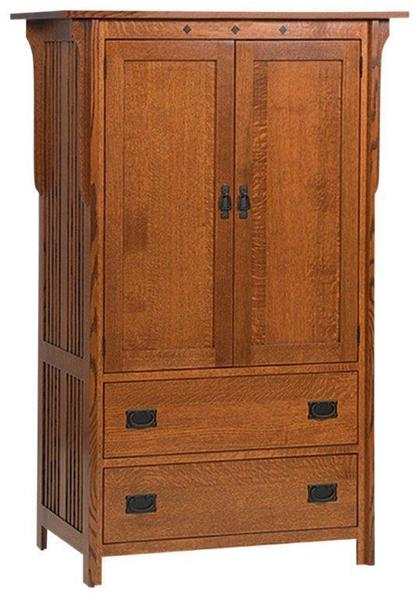 Amish Royal Two Drawer Two Door Mission Armoire