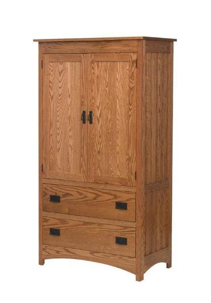 Amish Schwartz Two Drawer Mission Armoire