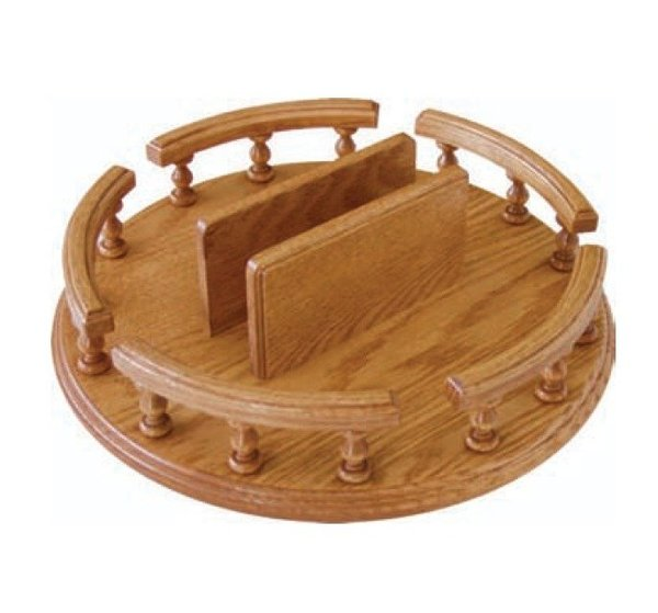 Amish Lazy Susan with Rail and Optional Napkin Holder