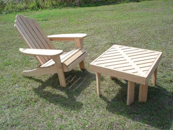 In Stock Bamboo Adirondack Chair, End Tables and Ottoman