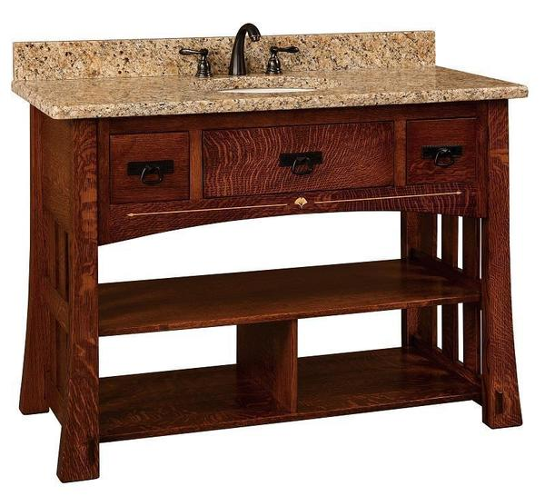 "Amish 49"" Mesa Mission Single Bathroom Vanity Cabinet with Inlays"