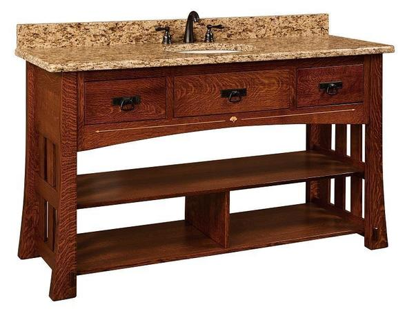 "Amish 60"" Mesa Mission Single Bathroom Vanity Cabinet with Inlays"