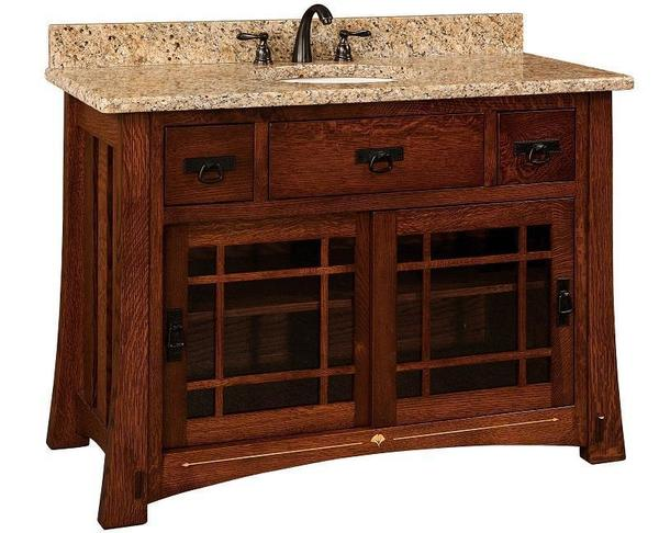 "Amish 49"" Morgan Single Bathroom Vanity Cabinet with Inlays"