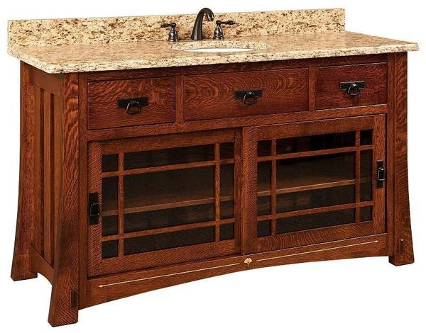 "Amish 60"" Morgan Single Bathroom American Vanity Cabinet with Inlays"