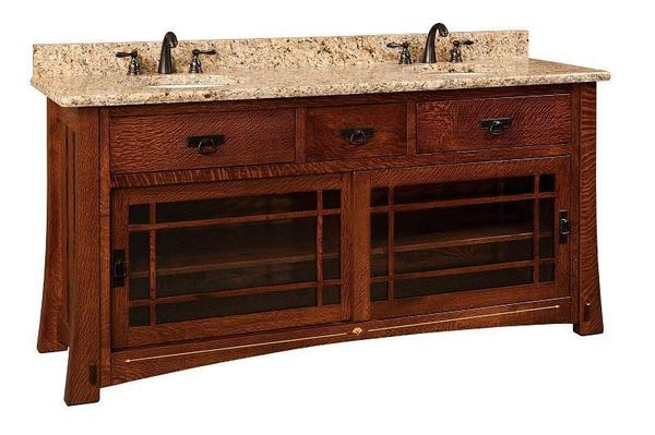 "Amish 72"" Morgan Double Bathroom Vanity Cabinet with Inlays"