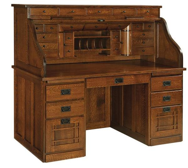 Old Fashioned Furniture For Sale: Mission Deluxe Roll Top Desk From DutchCrafters Amish
