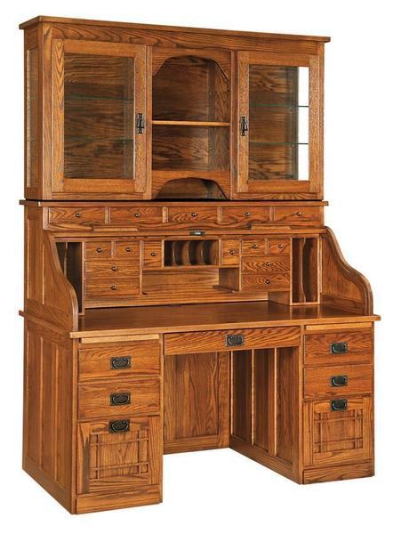 Mission Roll Top Desk With Optional Hutch From
