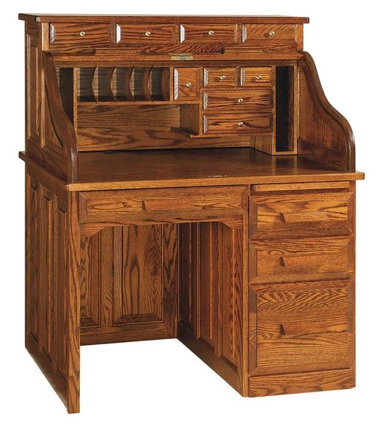 Amish Classic Single Pedestal Rolltop Desk with Optional Drawers on Top