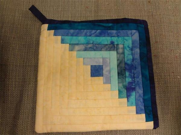 Amish Quilted Log Cabin Hot Pad Blue Batiks Fabrics