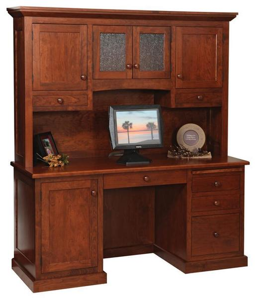 "Amish Homestead 64"" Credenza Desk with Optional Hutch Top"