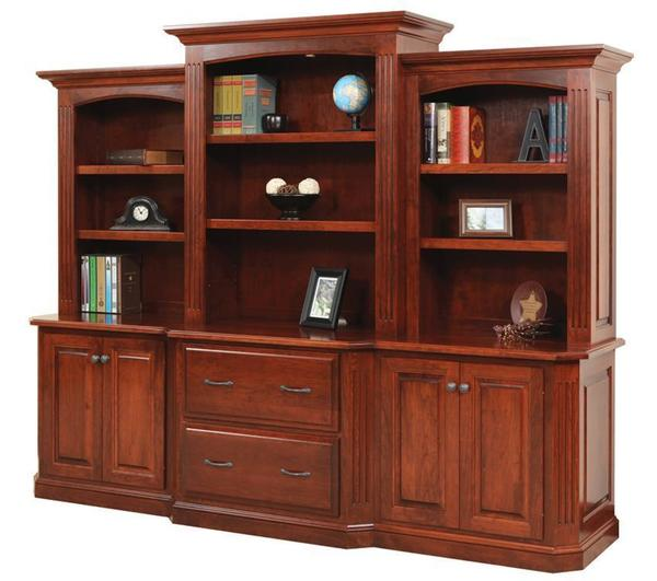Amish Buckingham Office Lateral File Cabinet Credenza And Optional Bookcase Top