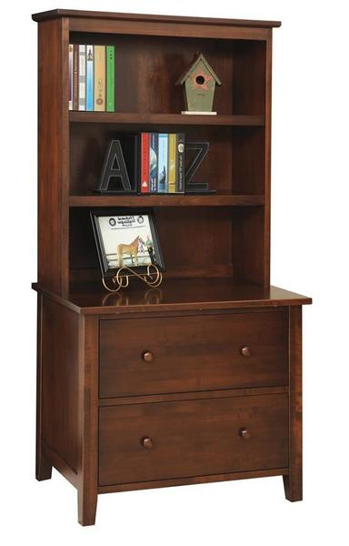 Amish Manhattan Lateral Filing Cabinet With Optional Bookshelf
