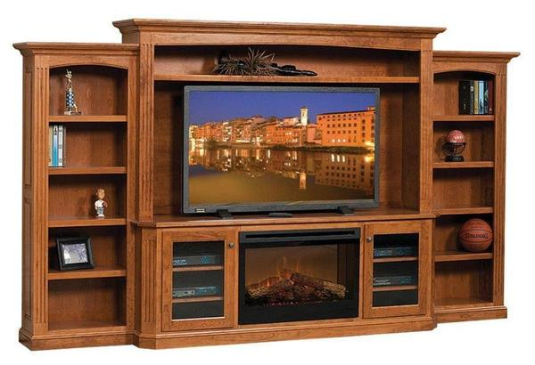 Amish Buckingham Entertainment Center with Electric Fireplace
