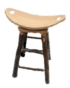 Amish Rustic Hickory Swivel Saddle Bar Stool
