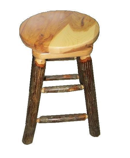 Amish Rustic Hickory Wood Bar Stool with Swivel Top