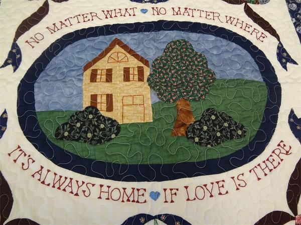"""Amish Handcrafted """"Home Is Where..."""" Quilt"""