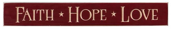 Faith, Hope, Love Wood Sign