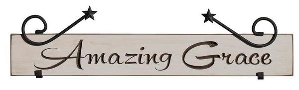 American Made Amazing Grace Wrought Iron Sign Holder
