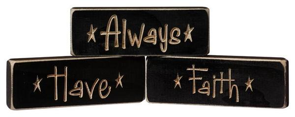 "American ""Always Have Faith"" 3-Piece Shelf Setter"