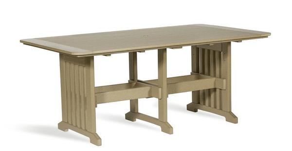 """Amish Leisure Lawns Poly Lumber 43"""" x 72"""" Rectangular Outdoor Dining Table"""