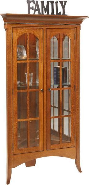 Amish Bunker Hill Corner Curio Cabinet