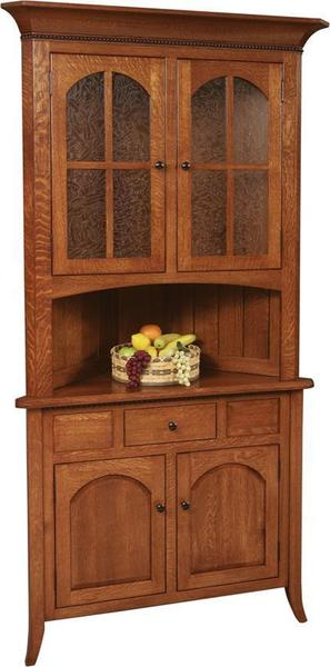 Amish Bunker Hill Corner Hutch with Drawer