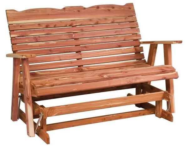 Amish Cedar Wood Straightback Loveseat Glider