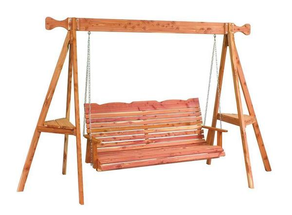 Amish Cedar Wood Straightback Porch Swing with Stand
