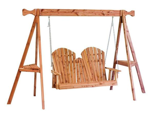 Amish Cedar Wood Adirondack Swing and Tripod Set