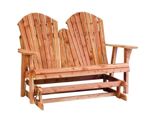 Amish Cedar Wood Adirondack Loveseat Bench Glider