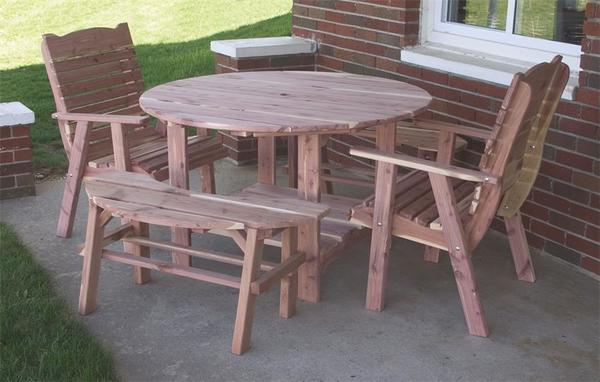 Cedar round picnic table set from dutchcrafters amish furniture amish cedar wood round picnic table set watchthetrailerfo
