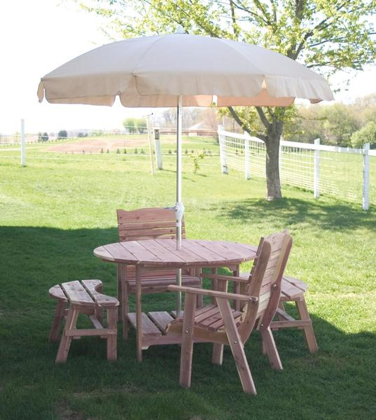 Cedar round picnic table from dutchcrafters amish furniture amish cedar wood outdoor round picnic table watchthetrailerfo