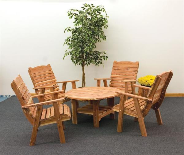 Amish Cedar Wood Coffee Table and Chair Set