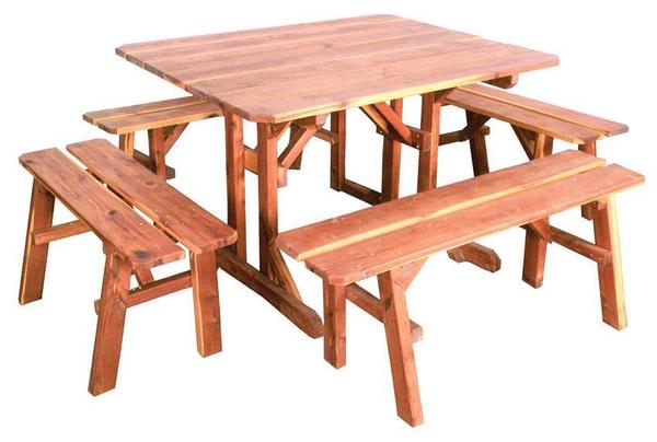 Amish Cedar Wood 5 Piece Picnic Table Set