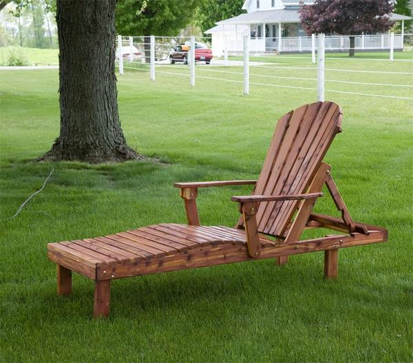 Amish Cedar Wood Outdoor Chaise Lounge