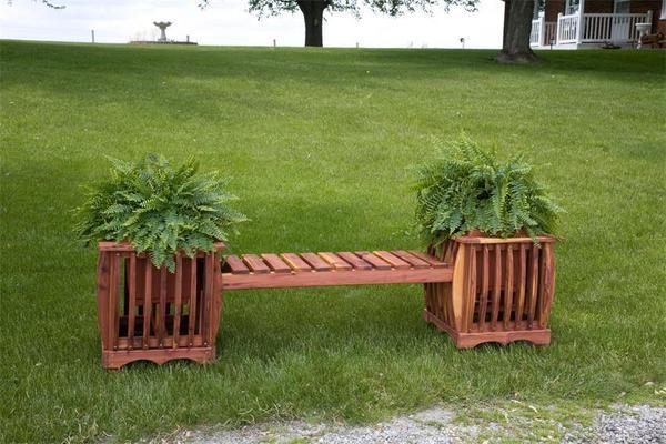 Amish Cedar Wood Planter Bench