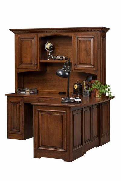Amish Liberty Classic Corner L Desk with Optional Hutch Top