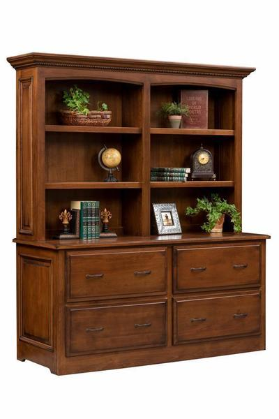 Amish Liberty Classic Double Lateral File Cabinet with Optional Hutch Top