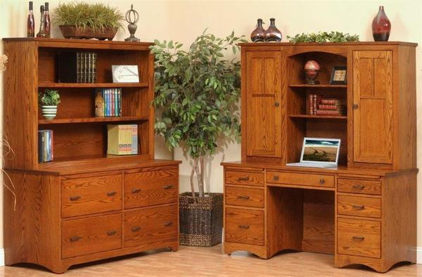 Amish Prairie Mission File Credenza with Hutch Top