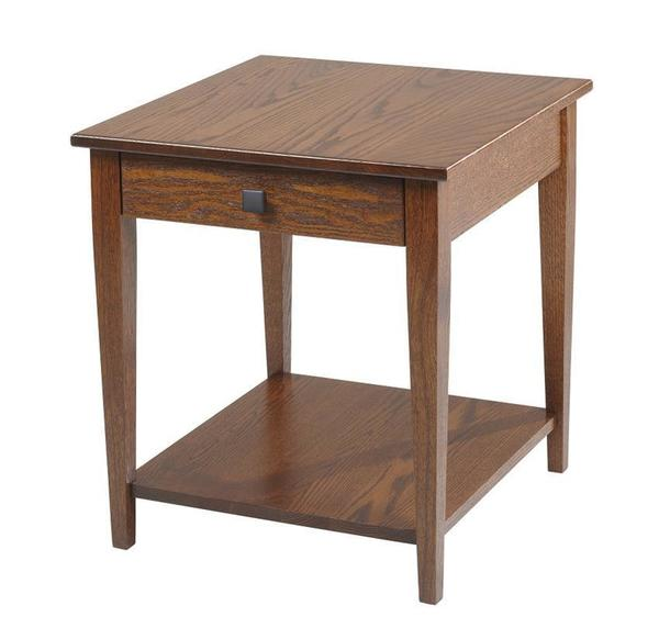Amish Woodland Shaker End Table with Shelf