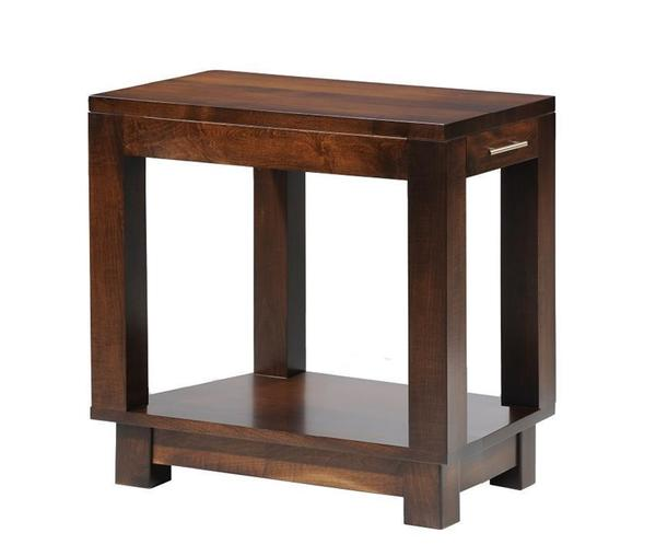 Amish Urban Chairside Small End Table with Drawer