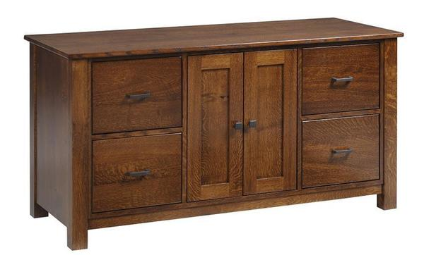 "Amish Mission 60"" Credenza with Optional Hutch Top"