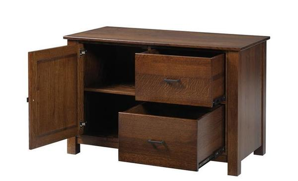 "Amish Mission 48"" Credenza with Optional Hutch Top"